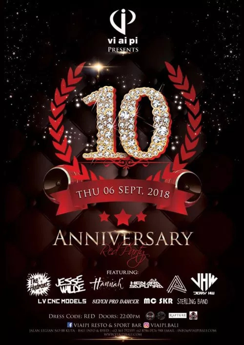 Bali Nightlife Entertainment Events 1st Week Of Sept 2018 Tiket Soundren This Thursday Mega Club Vi Ai Pi Will Celebrate A Decade Party Madness With Their Annual Anniversary Years Theme Is Red