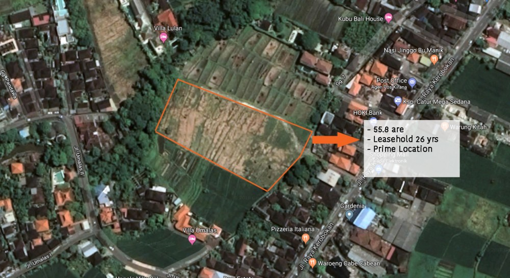 Spacious Leasehold Land with River View for Sale in Kerobokan