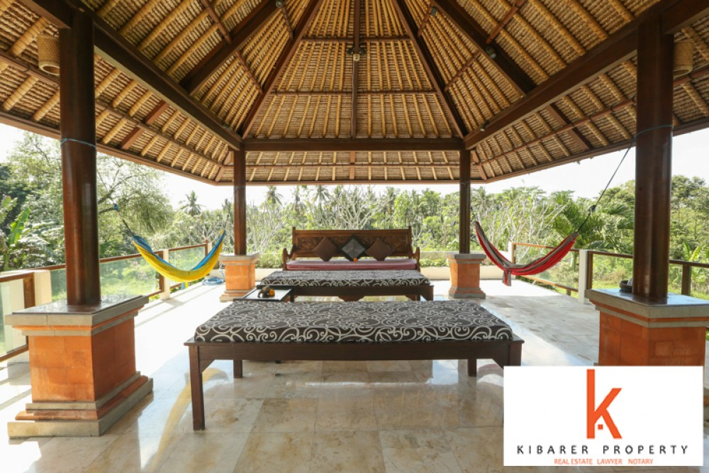 Beautiful Villa Surrounded Rice Fields with Spacious Land for Sale in Ubud