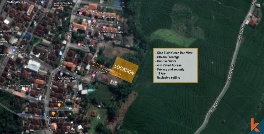 Amazing freehold land with rice fields view for sale